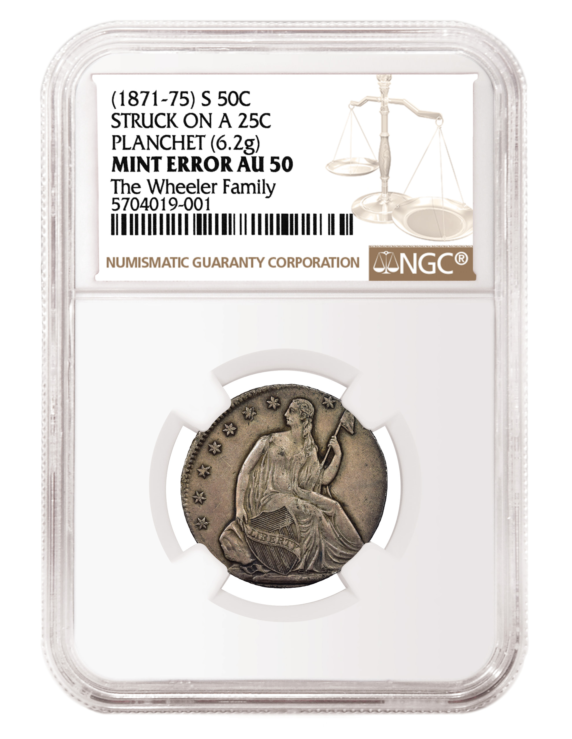 main image for Freak of Nature! Seated Half Struck on Quarter Planchet Certified by NGC