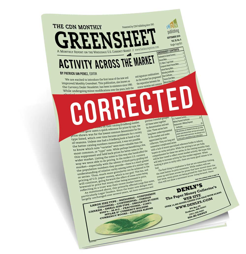 main image for Correction: Greensheet Pricing Fix Posted online (Sept 2019 Issue)