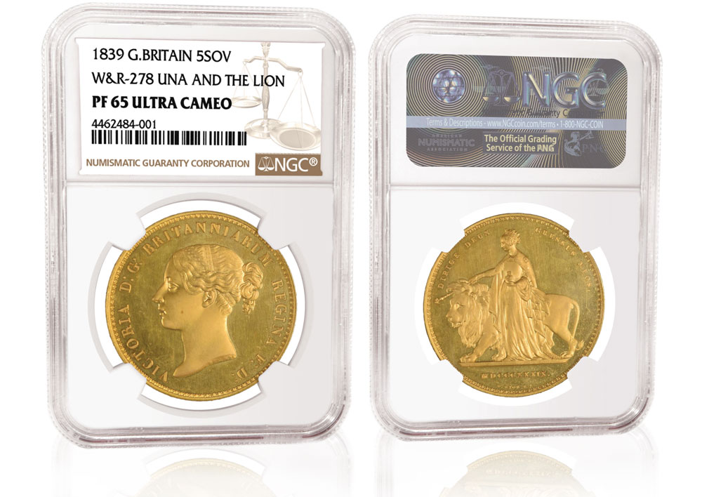 "main image for PRESS RELEASE: NGC-certified ""Una and the Lion"" Proof  Realizes About $460,000"