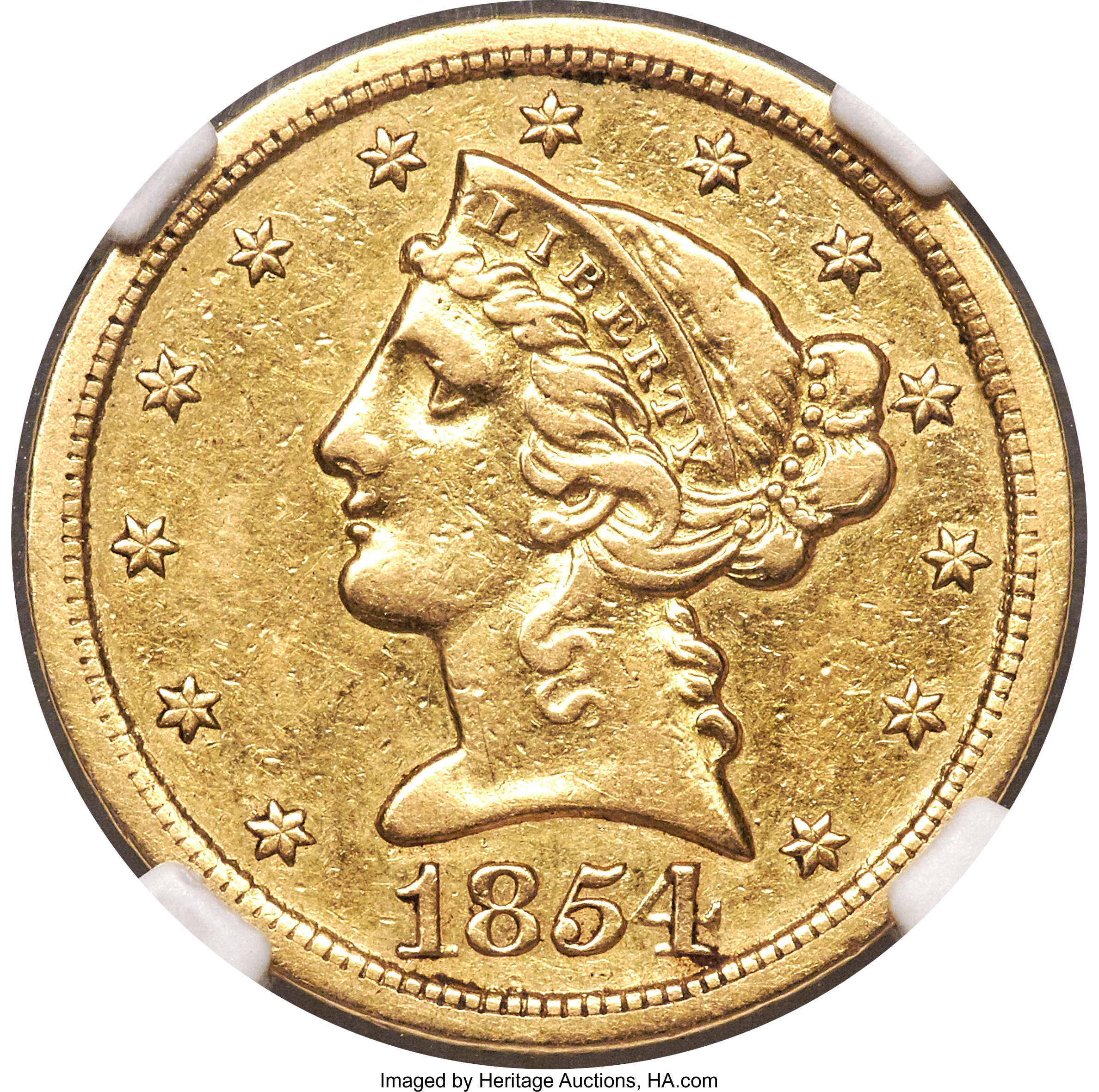 main image for Ultra Rare 1854-S $5 Gold Coin Acquired By David Lawrence Rare Coins and John Albanese