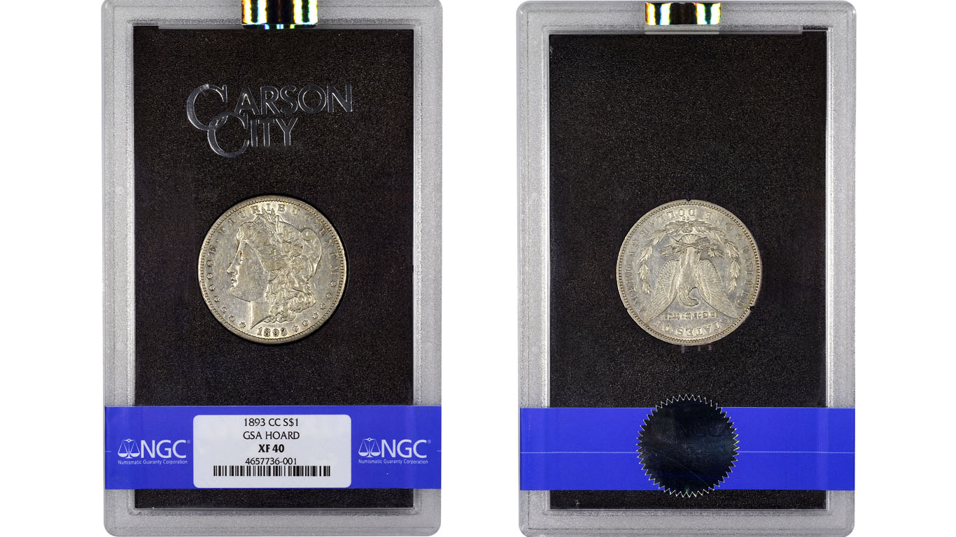 main image for PRESS RELEASE: NGC Certifies Only 1893-CC Morgan Dollar  in a GSA Hoard 'Hard Pack'