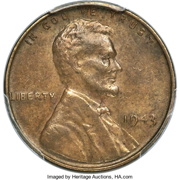 enlarged image for 1943 copper Lincoln cent highlights Heritage Auction at Summer FUN