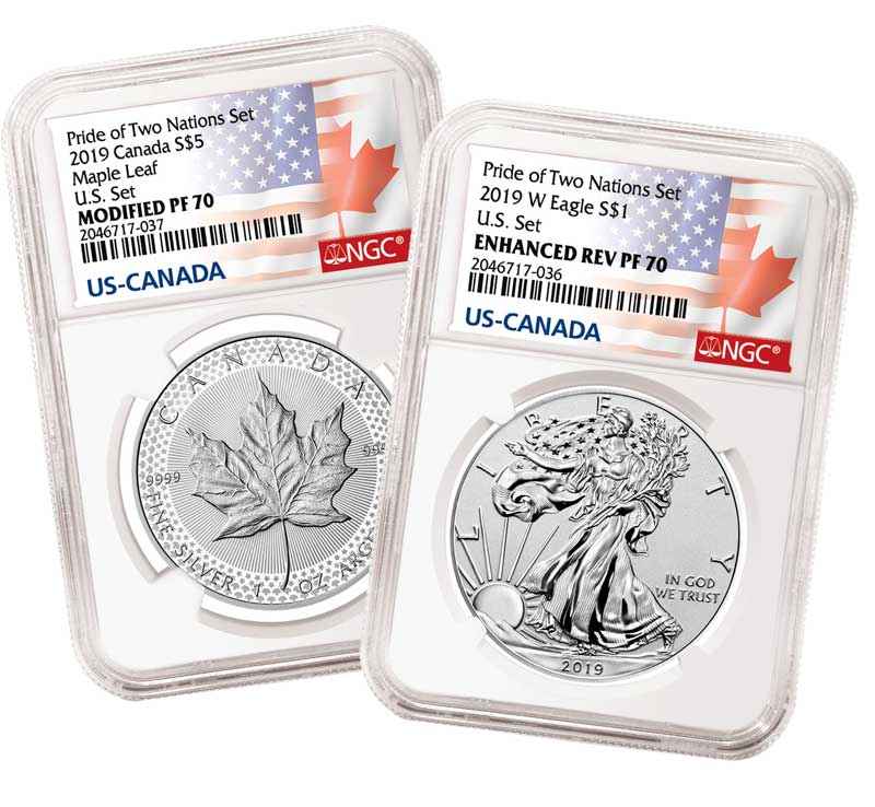 enlarged image for Press Release: Special NGC Label and Designations  for US-Canada Pride of Two Nations Set