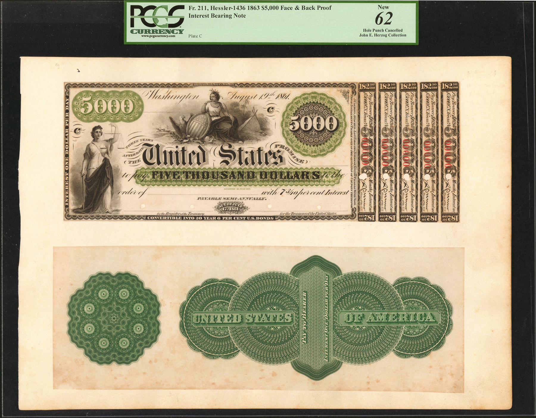 main image for John E. Herzog Collection of United States Loan Certificates To be Auction at 2018 World's Fair of Money