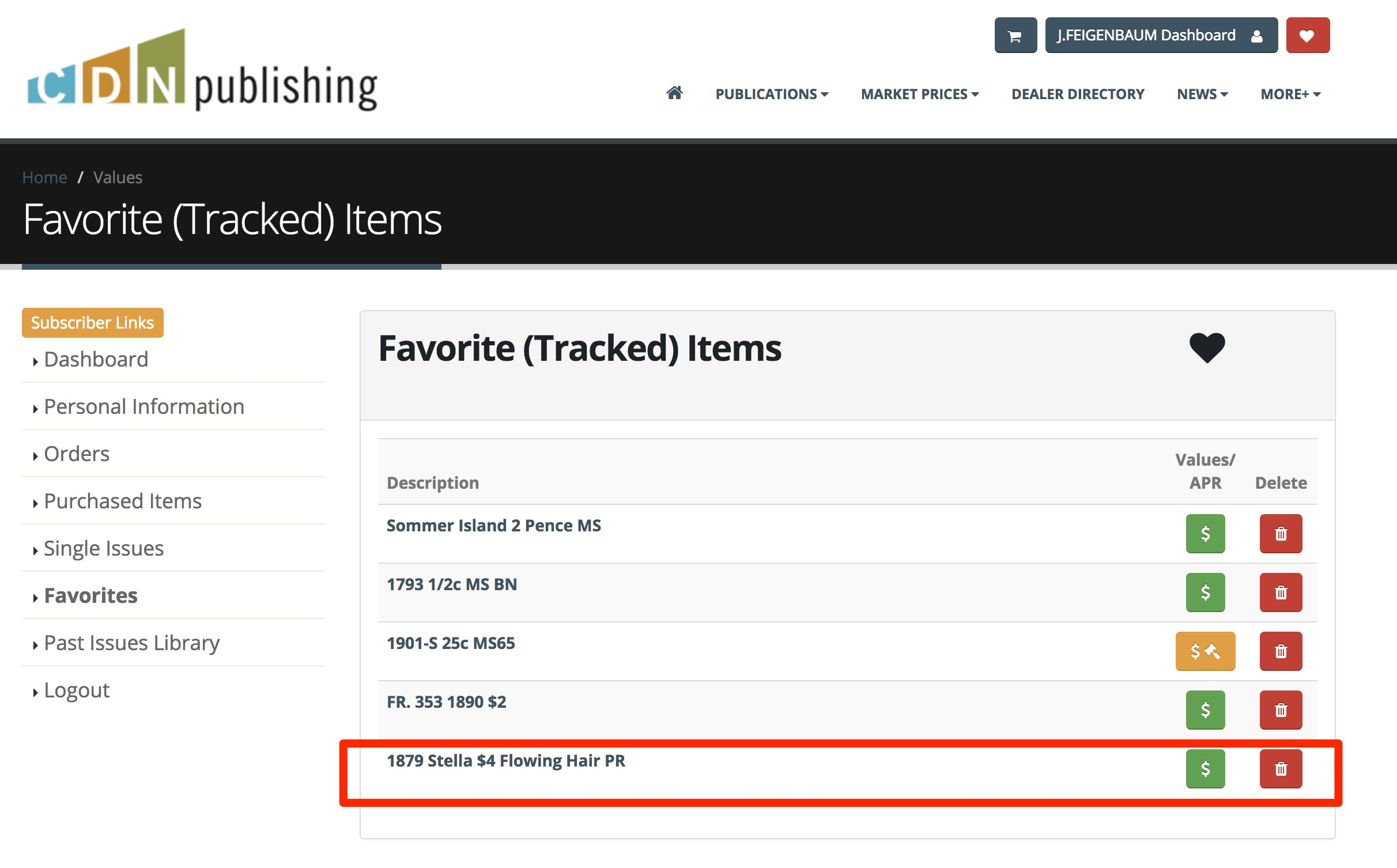 main image for FUN FEATURES: It's Easy to Track Your Favorite Items on the Greysheet Website