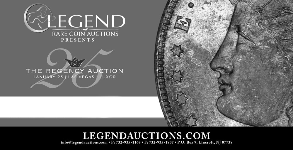 main image for PRESS RELEASE: Legend's 25th Regency Auction Sees Very Strong Bidding, Record Price Realized for 1920 Double Eagle.