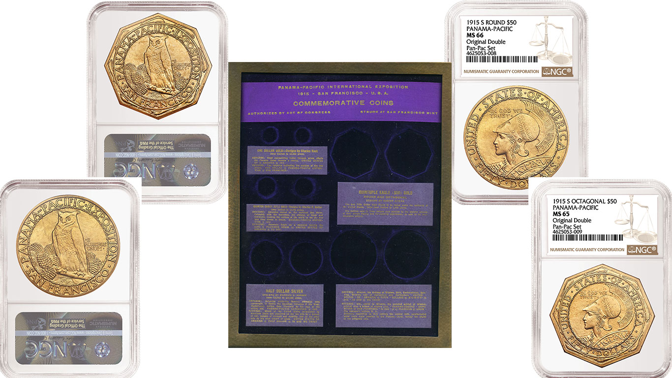 thumbnail image for PRESS RELEASE: NGC Grades Rare 1915 Panama-Pacific Double Set