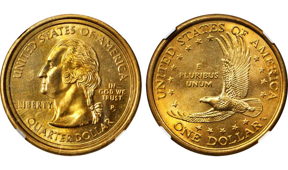 main image for PRESS RELEASE: Newly Discovered Sacagawea Dollar / Washington Quarter Mule to be Offered in the  Stack's Bowers Galleries March 2018 Baltimore Auction