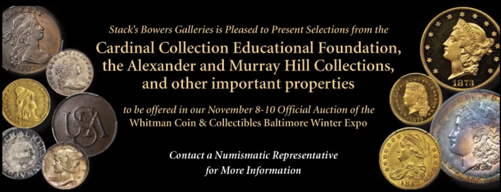 main image for PRESS RELEASE: Exciting Early American Coins and Numismatic Americana to Highlight the Stack's Bowers Galleries Official Auction of the November 2017 Whitman Coins & Collectibles Baltimore Expo