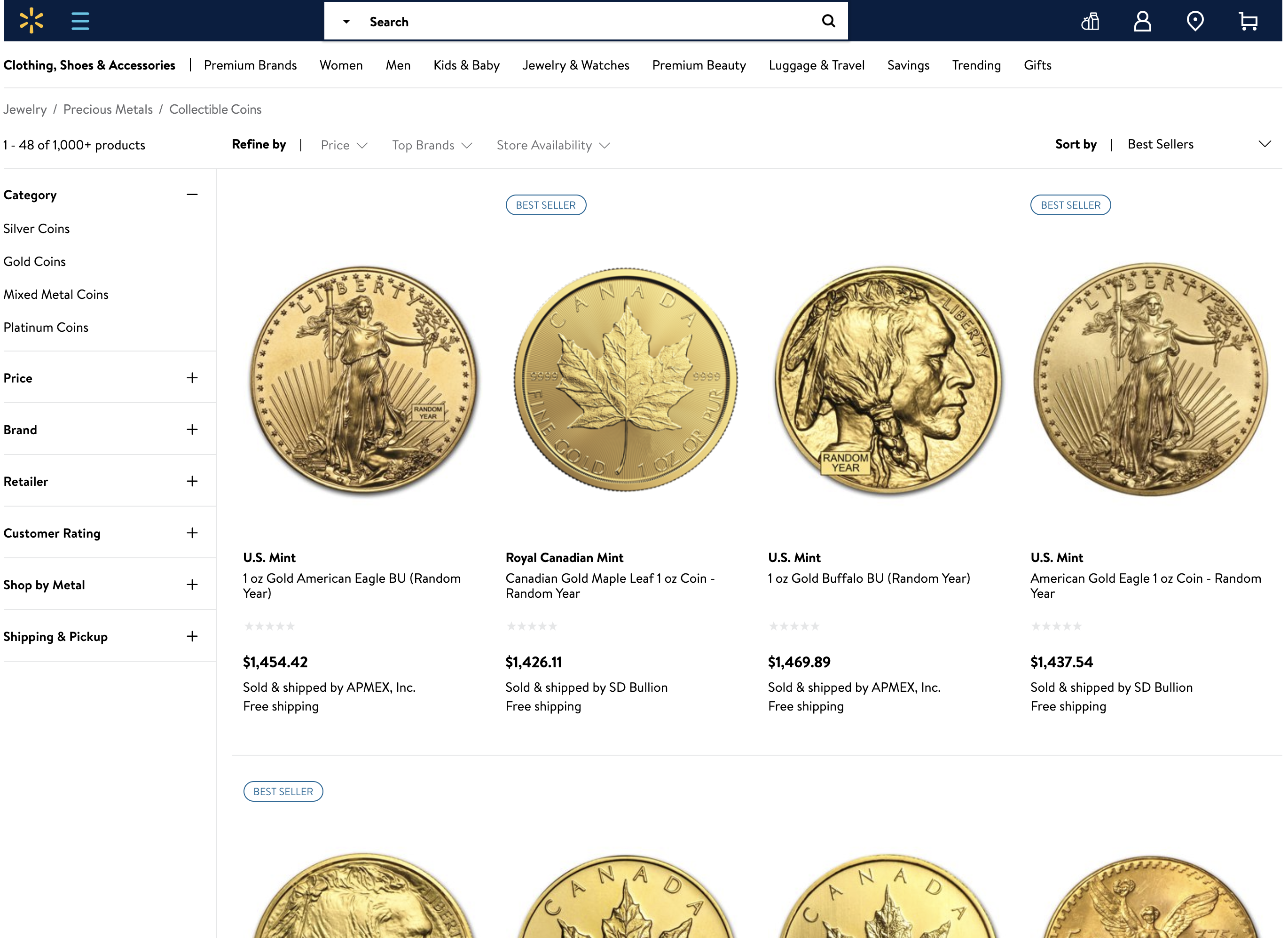 thumbnail image for Wal-Mart Joins the Online Coin Market