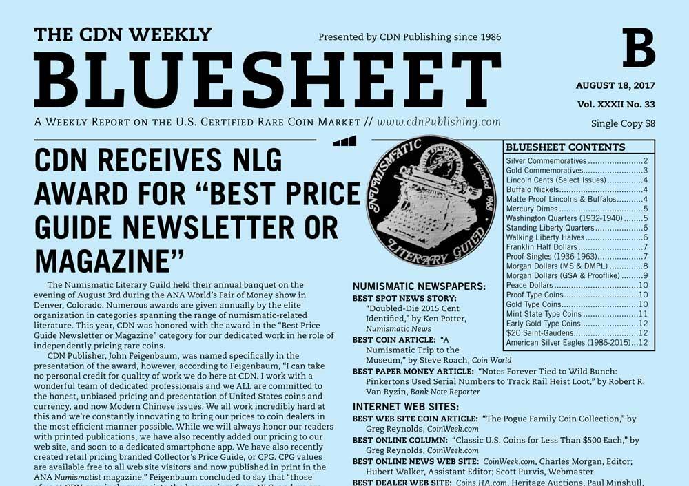 """main image for BLUESHEET: CDN RECEIVES NLG AWARD FOR """"BEST PRICE GUIDE NEWSLETTER OR MAGAZINE"""""""