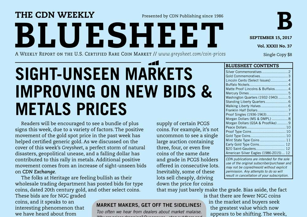 main image for BLUESHEET: SIGHT-UNSEEN MARKETS IMPROVING ON NEW BIDS & METALS PRICES