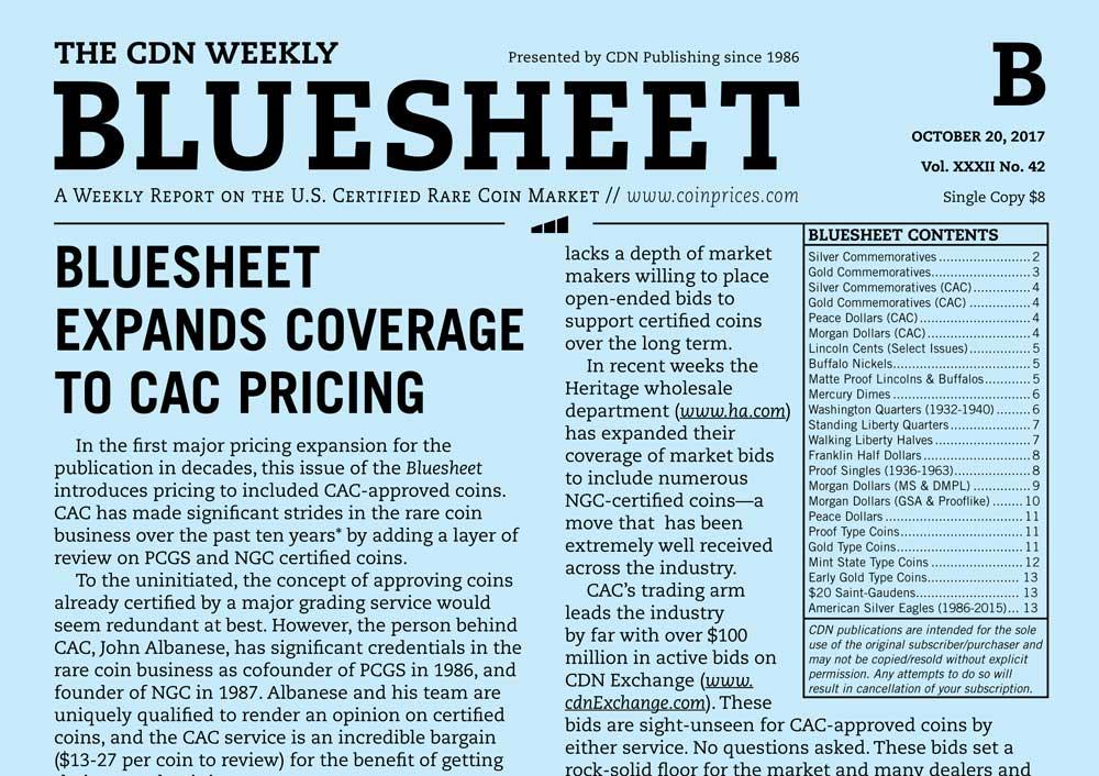 main image for BLUESHEET: BLUESHEET EXPANDS COVERAGE TO CAC PRICING
