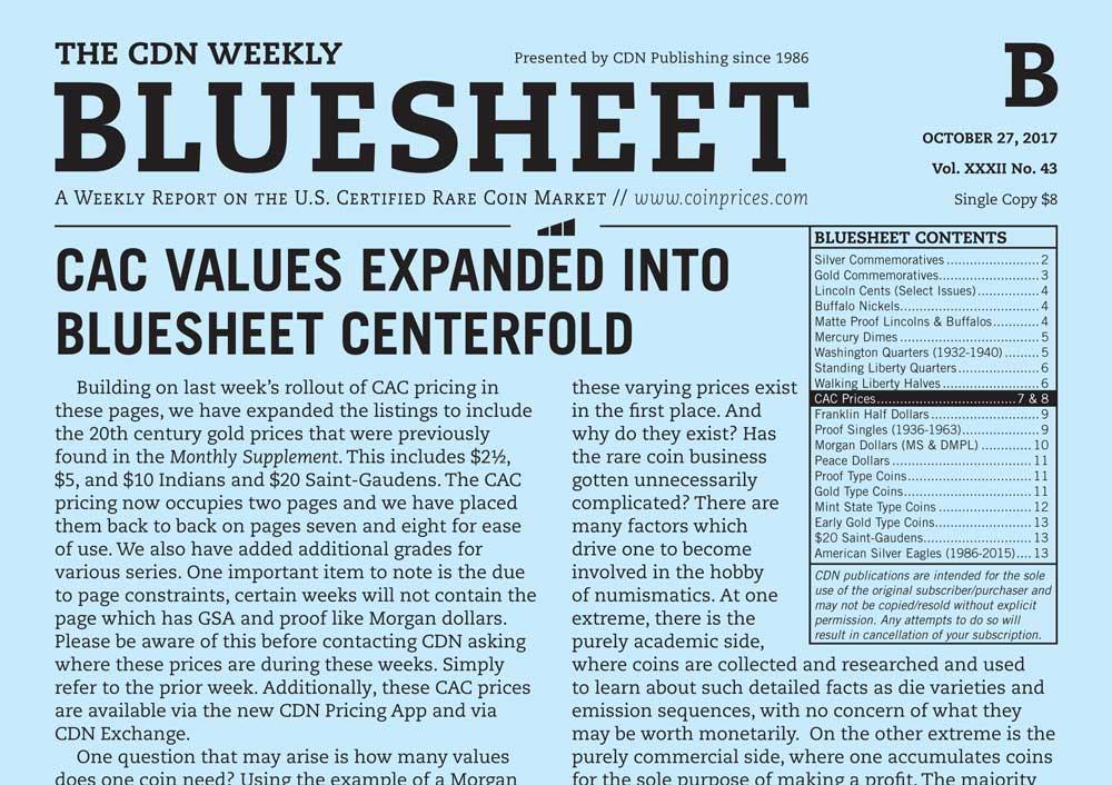 main image for BLUESHEET: CAC VALUES EXPANDED INTO BLUESHEET CENTERFOLD