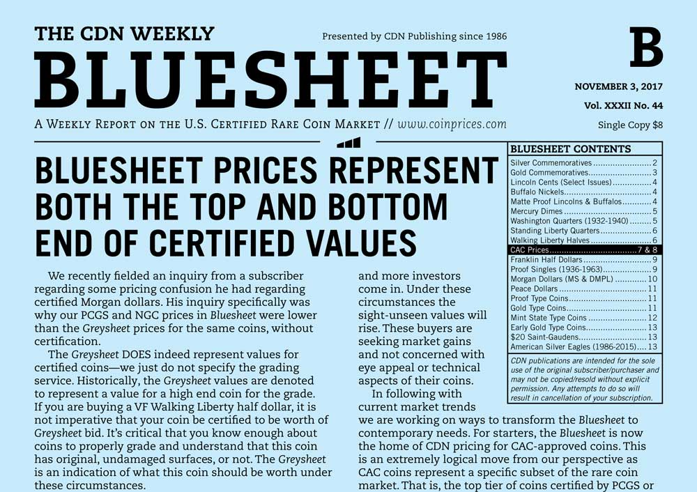 main image for BLUESHEET: BLUESHEET PRICES REPRESENT BOTH THE TOP AND BOTTOM END OF CERTIFIED VALUES