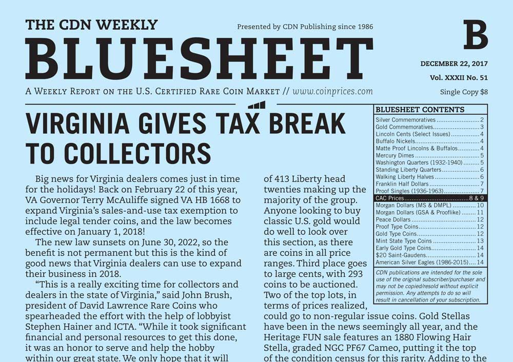 main image for BLUESHEET: VIRGINIA GIVES TAX BREAK TO COLLECTORS