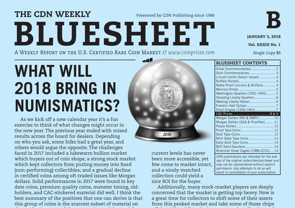 main image for BLUESHEET: WHAT WILL 2018 BRING IN NUMISMATICS?