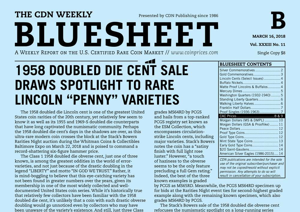"""main image for 1958 DOUBLED DIE CENT SALE DRAWS SPOTLIGHT TO RARE LINCOLN """"PENNY"""" VARIETIES"""