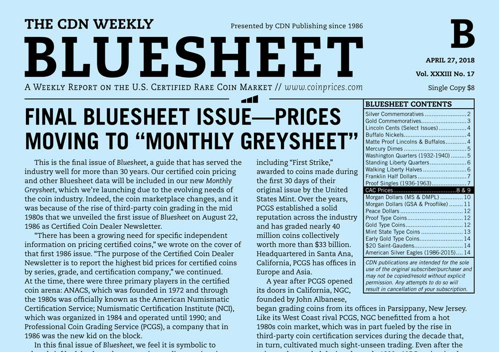 """main image for FINAL BLUESHEET ISSUE—PRICES MOVING TO """"MONTHLY GREYSHEET"""""""