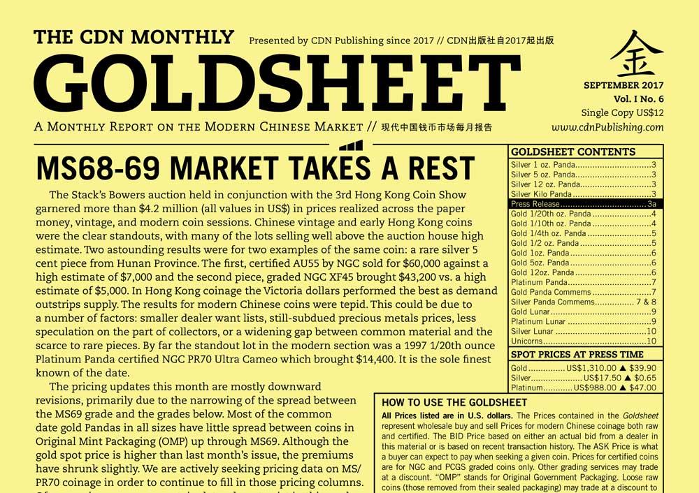main image for GOLDSHEET: MS68-69 MARKET TAKES A REST