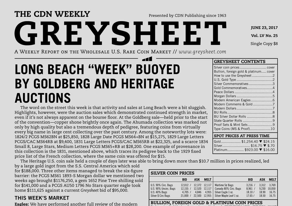 """main image for GREYSHEET: LONG BEACH """"WEEK"""" BUOYED BY GOLDBERG AND HERITAGE AUCTIONS"""
