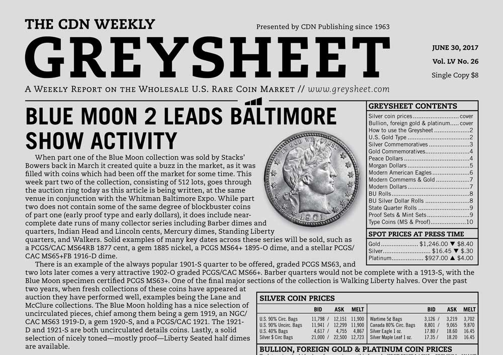 main image for GREYSHEET: BLUE MOON 2 LEADS BALTIMORE SHOW ACTIVITY