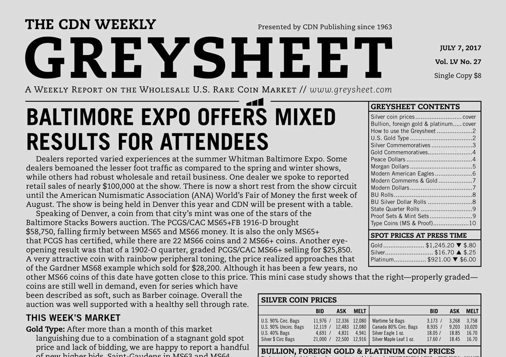 main image for GREYSHEET: BALTIMORE EXPO OFFERS MIXED RESULTS FOR ATTENDEES
