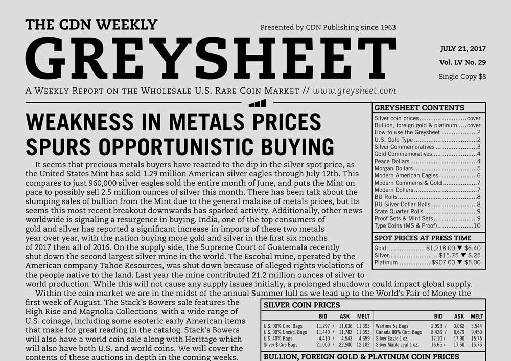 main image for GREYSHEET: WEAKNESS IN METALS PRICES SPURS OPPORTUNISTIC BUYING