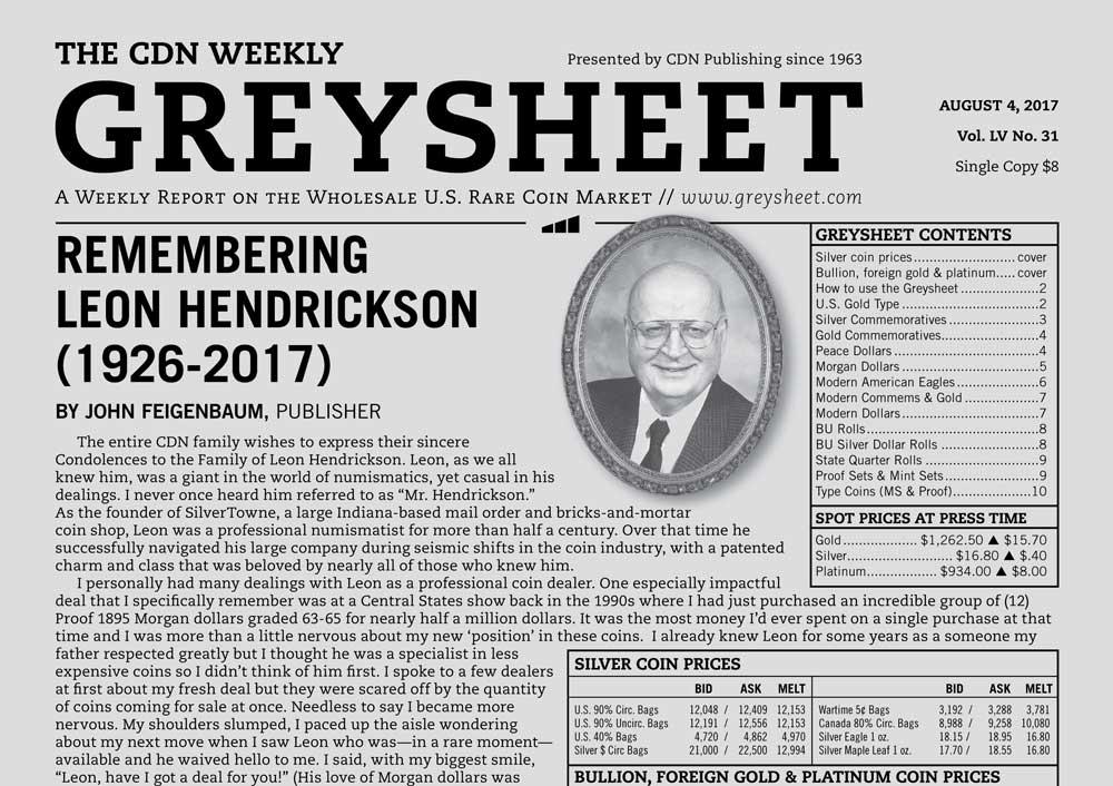 main image for GREYSHEET: REMEMBERING LEON HENDRICKSON (1926-2017)