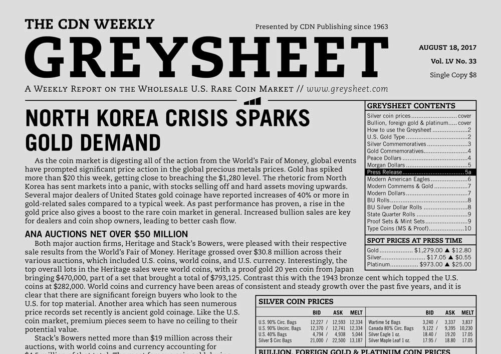 main image for GREYSHEET: NORTH KOREA CRISIS SPARKS GOLD DEMAND