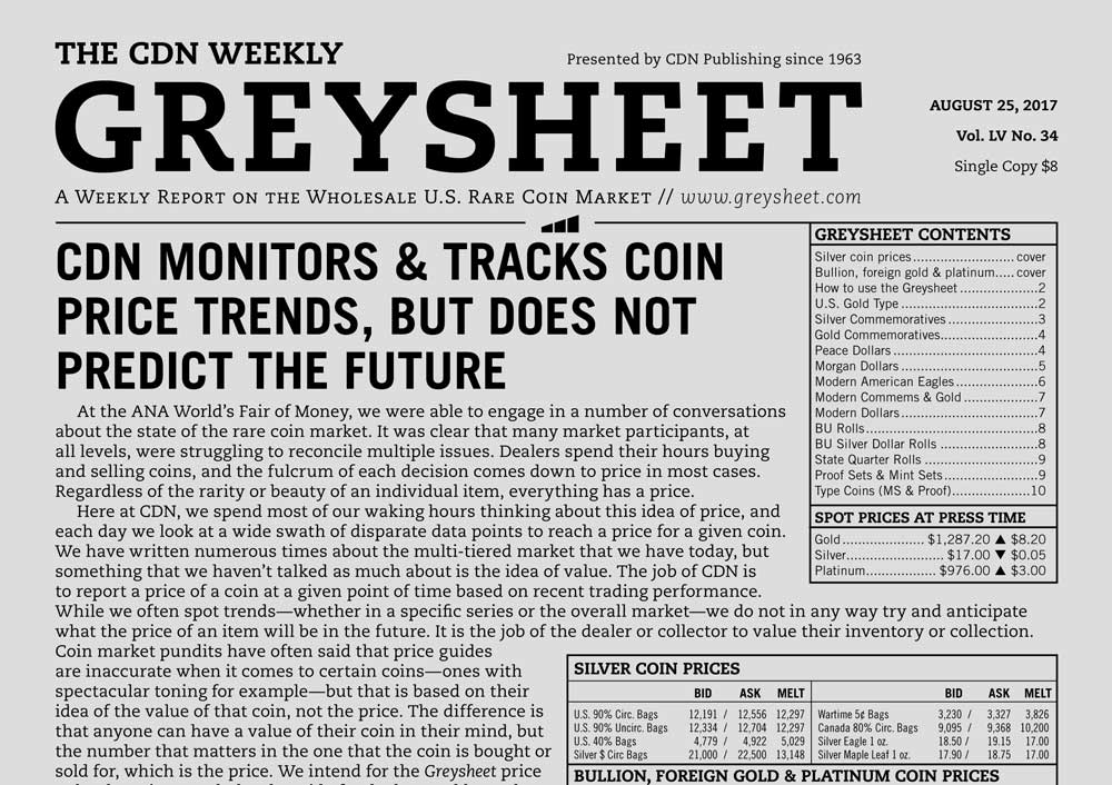 main image for GREYSHEET: CDN MONITORS & TRACKS COIN PRICE TRENDS, BUT DOES NOT PREDICT THE FUTURE