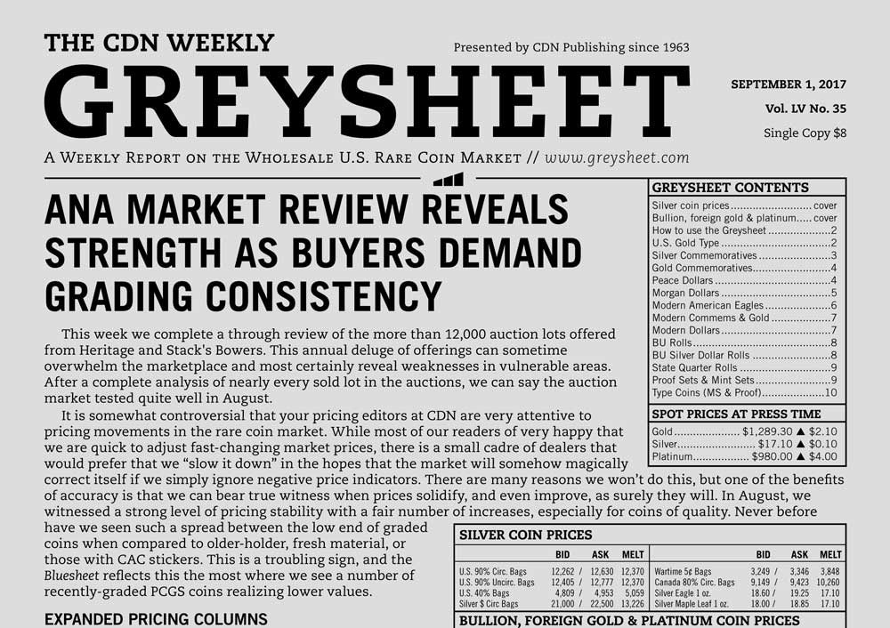 main image for GREYSHEET: ANA MARKET REVIEW REVEALS STRENGTH AS BUYERS DEMAND GRADING CONSISTENCY