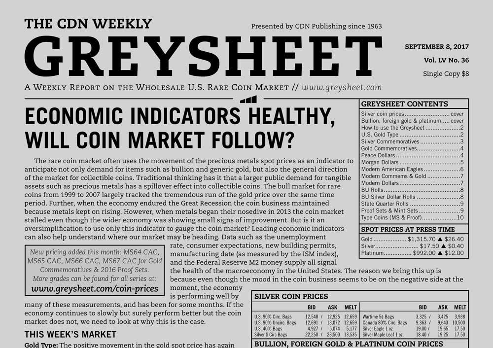 main image for GREYSHEET: ECONOMIC INDICATORS HEALTHY, WILL COIN MARKET FOLLOW?