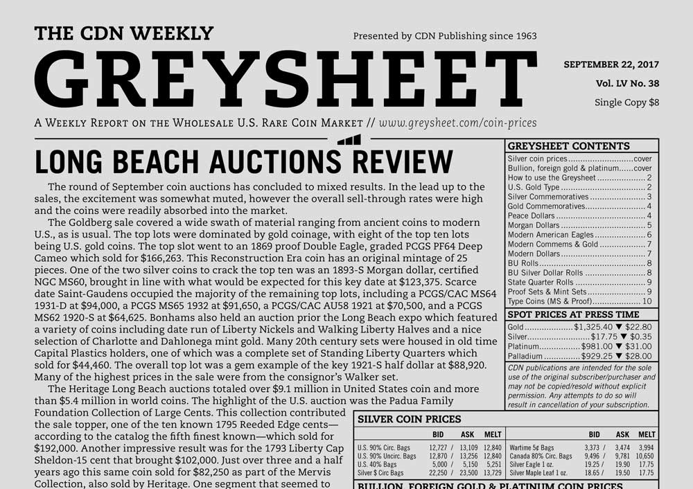 main image for GREYSHEET: LONG BEACH AUCTIONS REVIEW