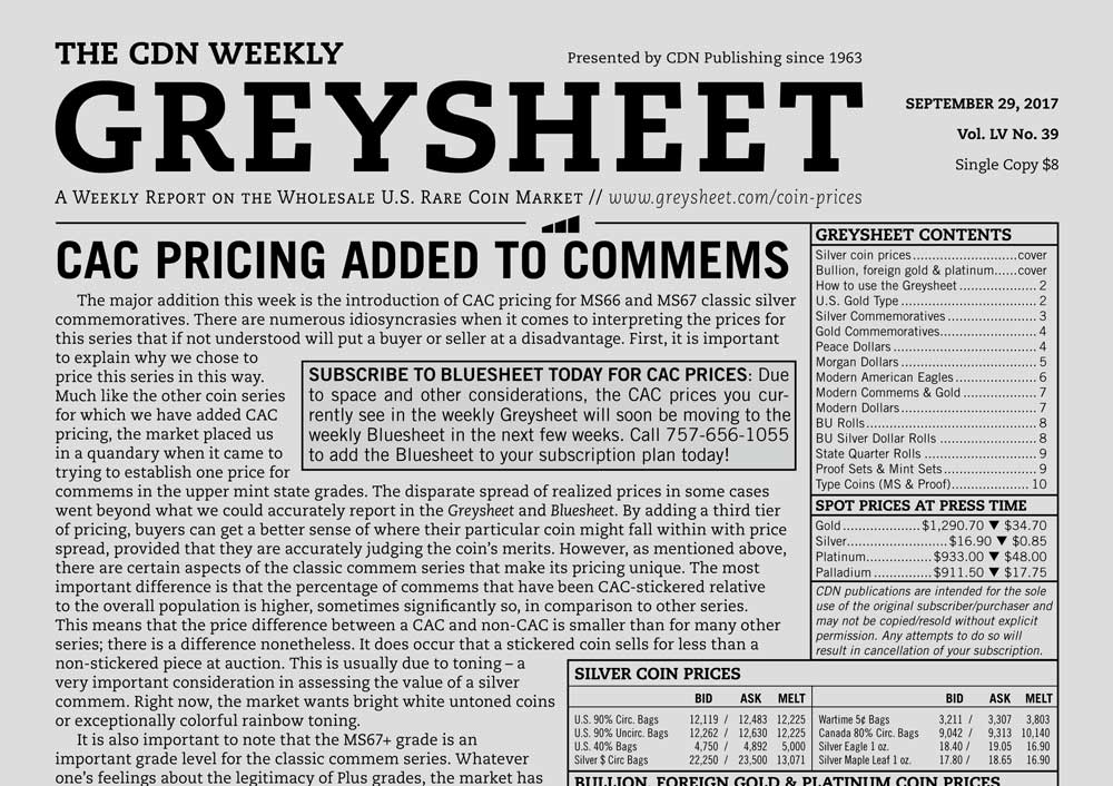 main image for GREYSHEET: CAC PRICING ADDED TO COMMEMS