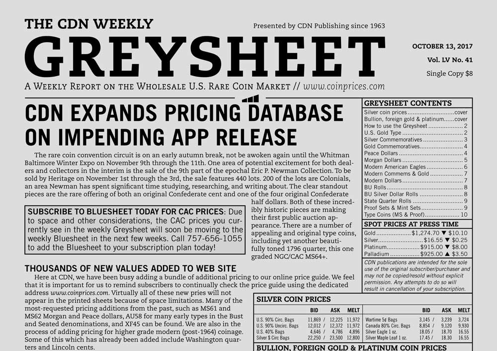 main image for GREYSHEET: CDN EXPANDS PRICING DATABASE ON IMPENDING APP RELEASE