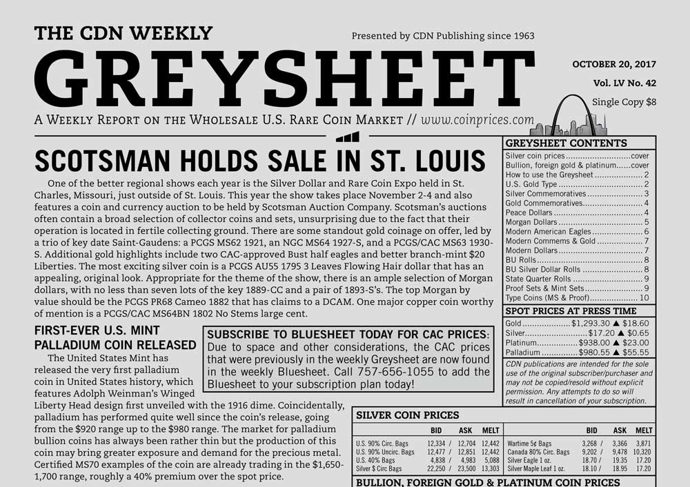 main image for GREYSHEET: SCOTSMAN HOLDS SALE IN ST. LOUIS