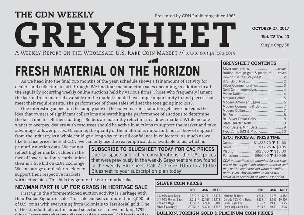 main image for GREYSHEET: FRESH MATERIAL ON THE HORIZON