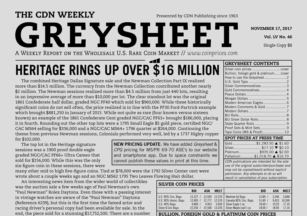 main image for GREYSHEET: HERITAGE RINGS UP OVER $16 MILLION