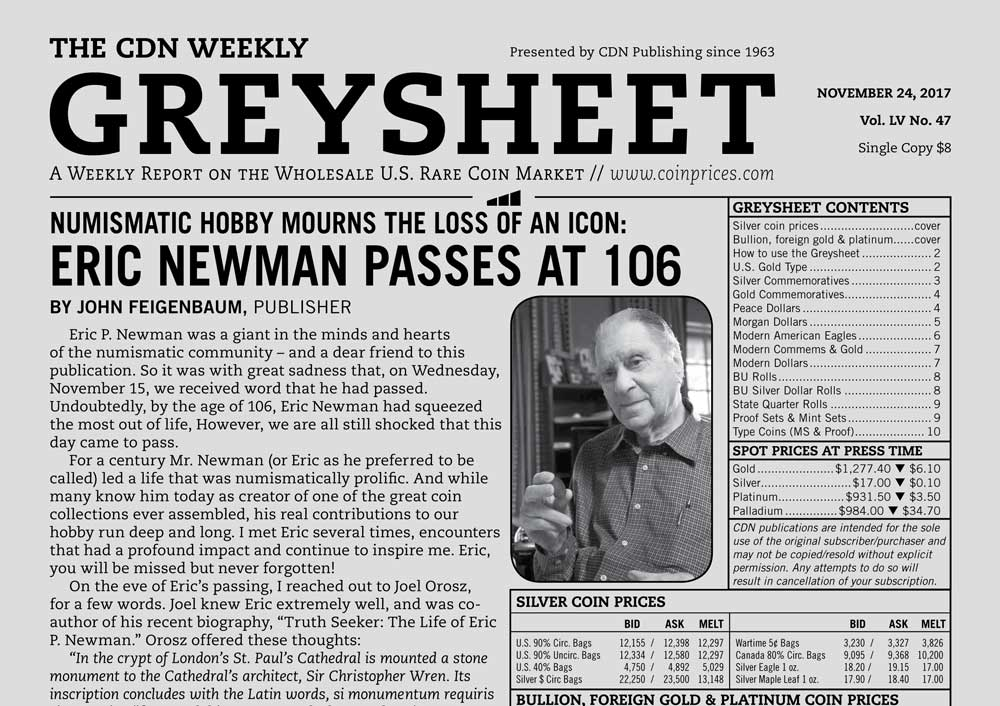 thumbnail image for GREYSHEET: NUMISMATIC HOBBY MOURNS THE LOSS OF AN ICON: ERIC NEWMAN PASSES AT 106