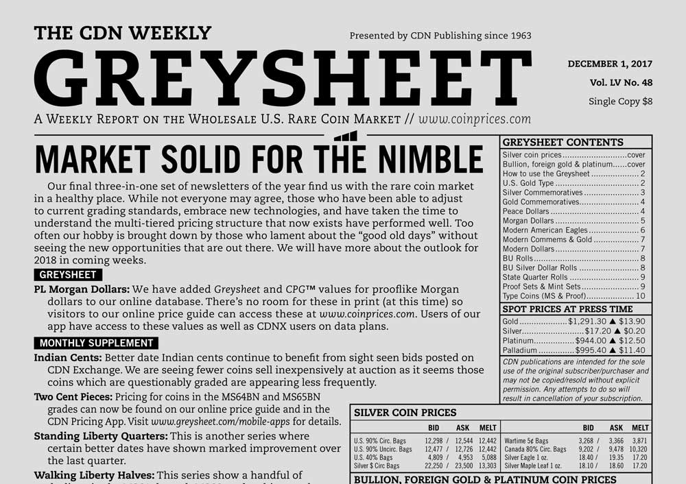 thumbnail image for GREYSHEET: MARKET SOLID FOR THE NIMBLE