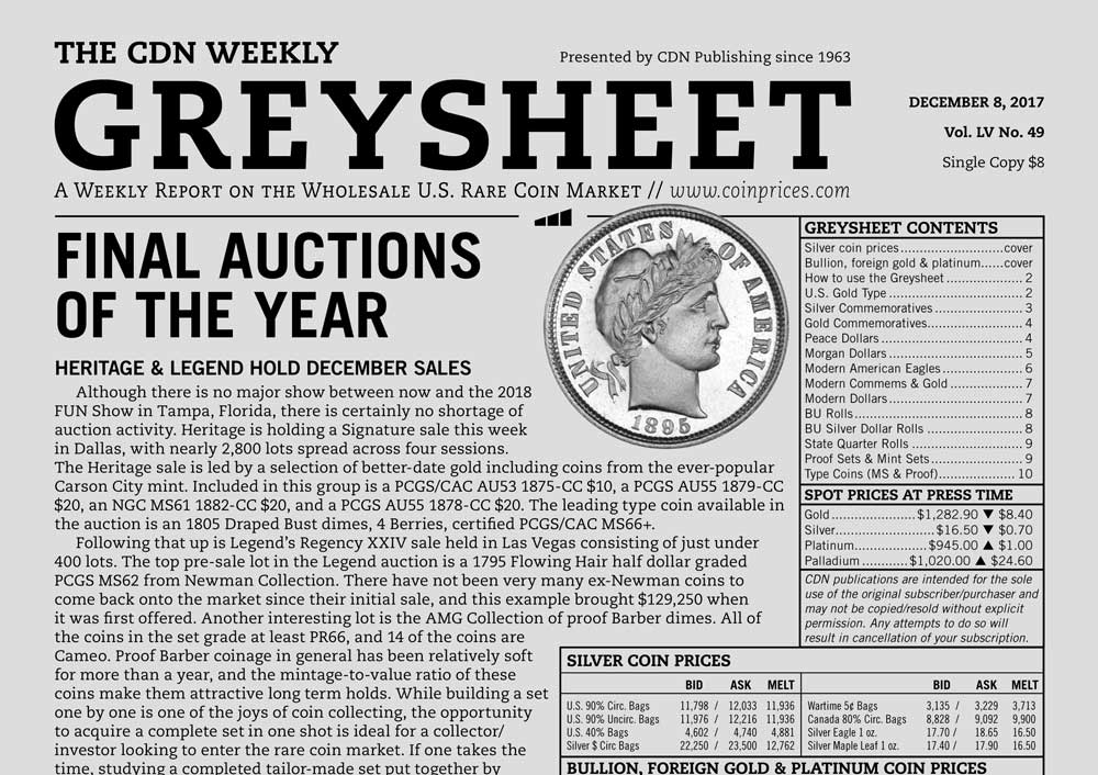 main image for GREYSHEET: FINAL AUCTIONS OF THE YEAR