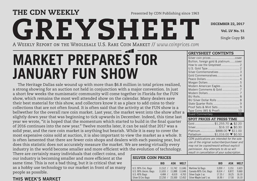 main image for GREYSHEET: MARKET PREPARES FOR JANUARY FUN SHOW