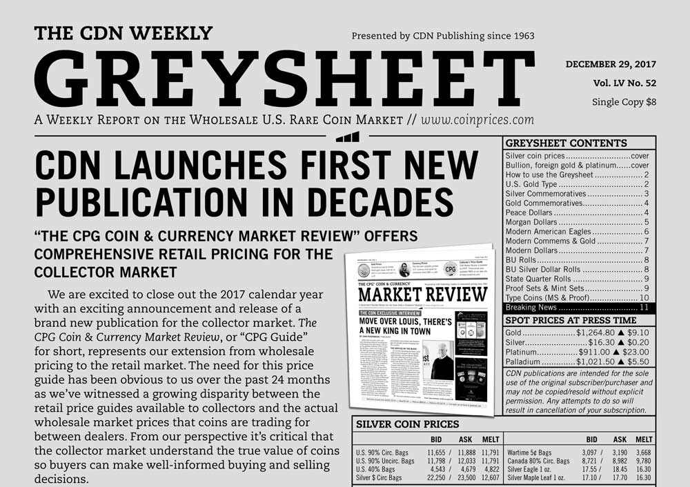 main image for GREYSHEET: CDN LAUNCHES FIRST NEW PUBLICATION IN DECADES