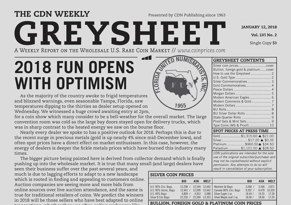 main image for GREYSHEET: 2018 FUN OPENS WITH OPTIMISM