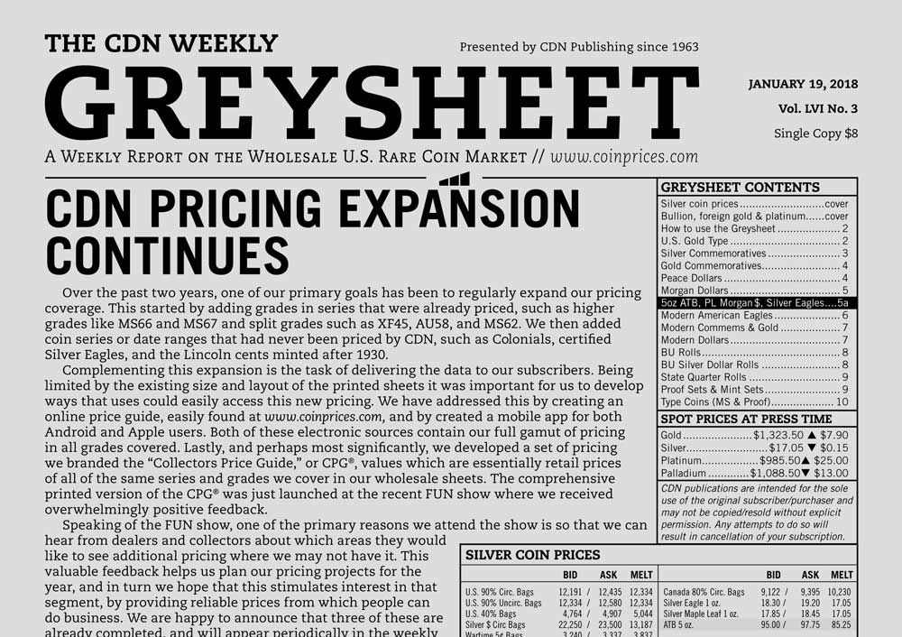 main image for GREYSHEET: CDN PRICING EXPANSION CONTINUES