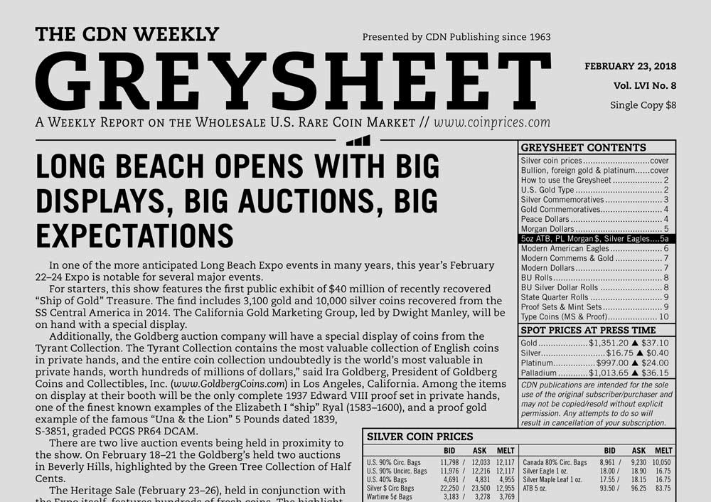 main image for GREYSHEET: LONG BEACH OPENS WITH BIG DISPLAYS, BIG AUCTIONS, BIG EXPECTATIONS