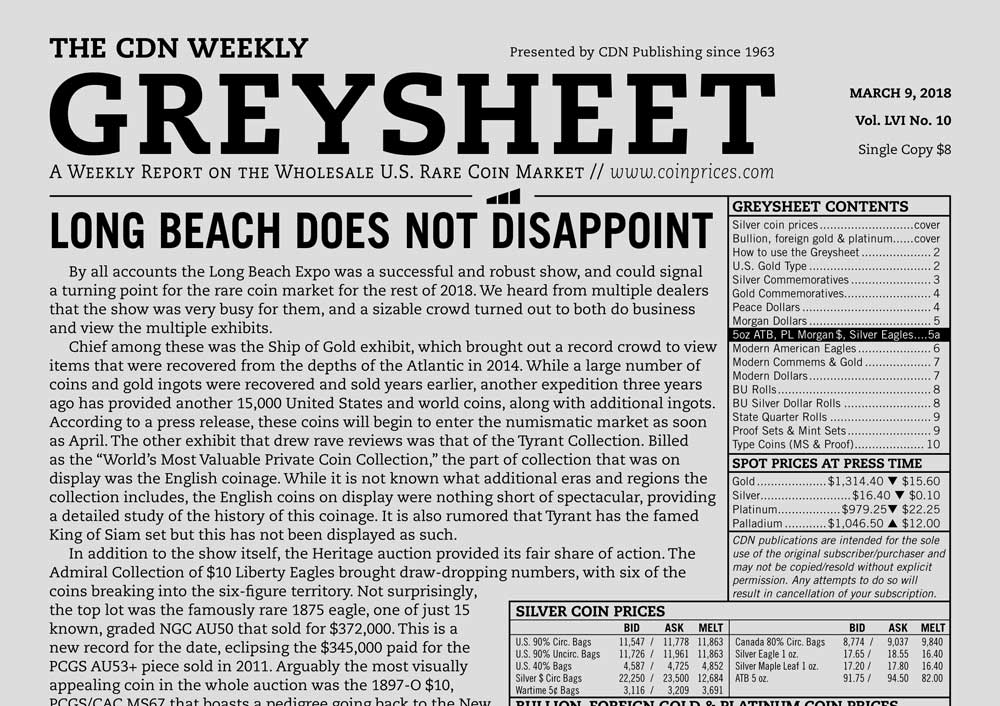 main image for GREYSHEET: LONG BEACH DOES NOT DISAPPOINT
