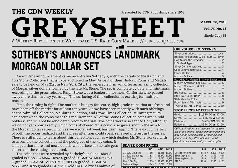 thumbnail image for GREYSHEET: SOTHEBY'S ANNOUNCES LANDMARK MORGAN DOLLAR SET