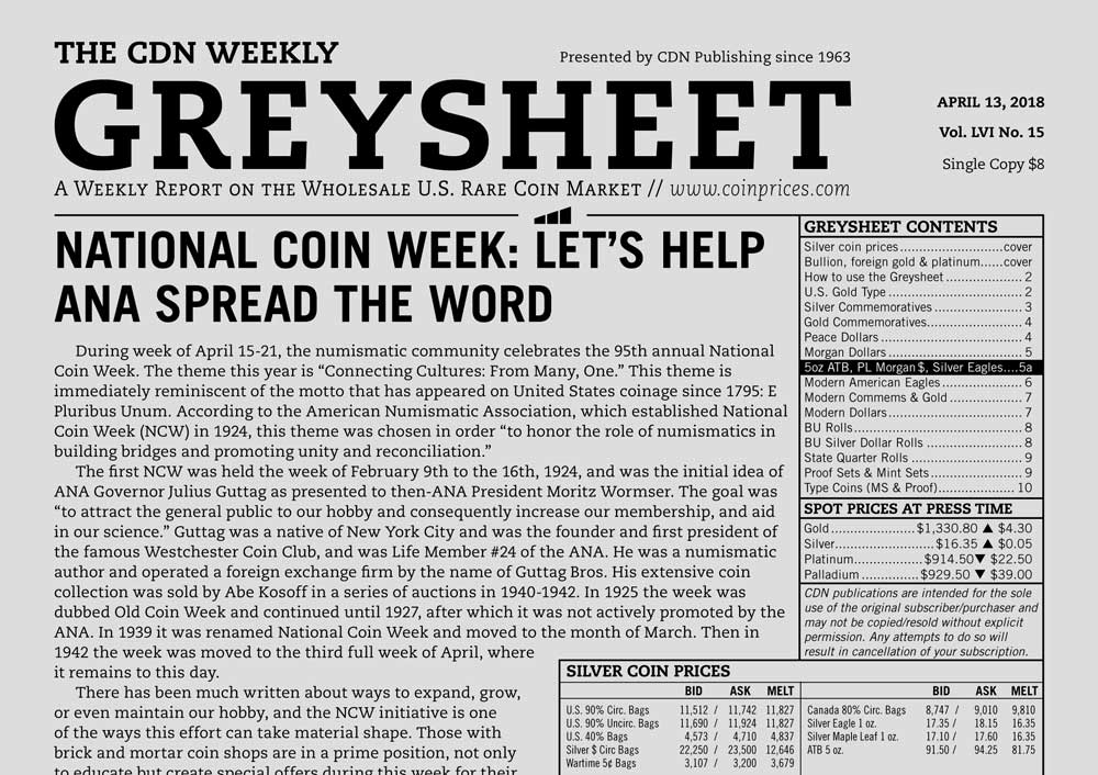 main image for GREYSHEET: NATIONAL COIN WEEK: LET'S HELP ANA SPREAD THE WORD